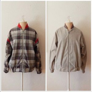 Vintage 80s Plaid Checked Reversible Bomber Jacket